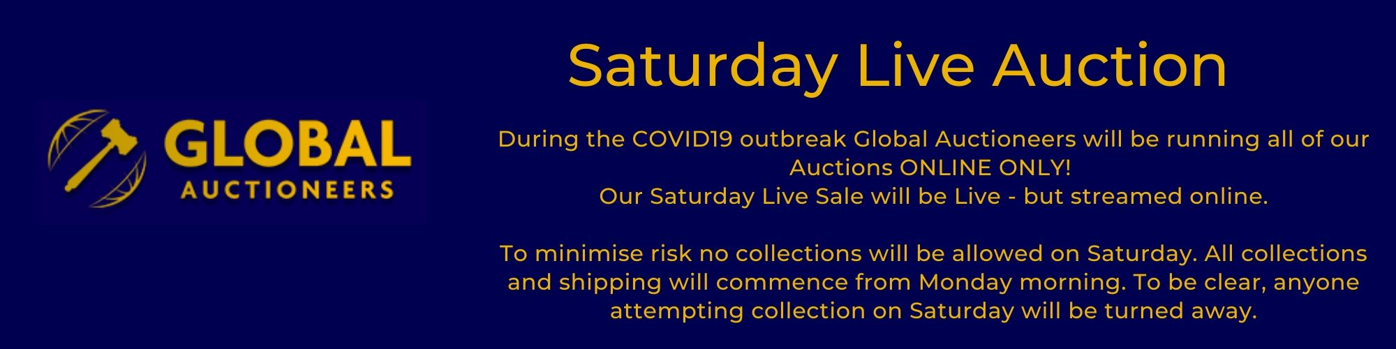 Saturday Live Auction - streamed ONLINE